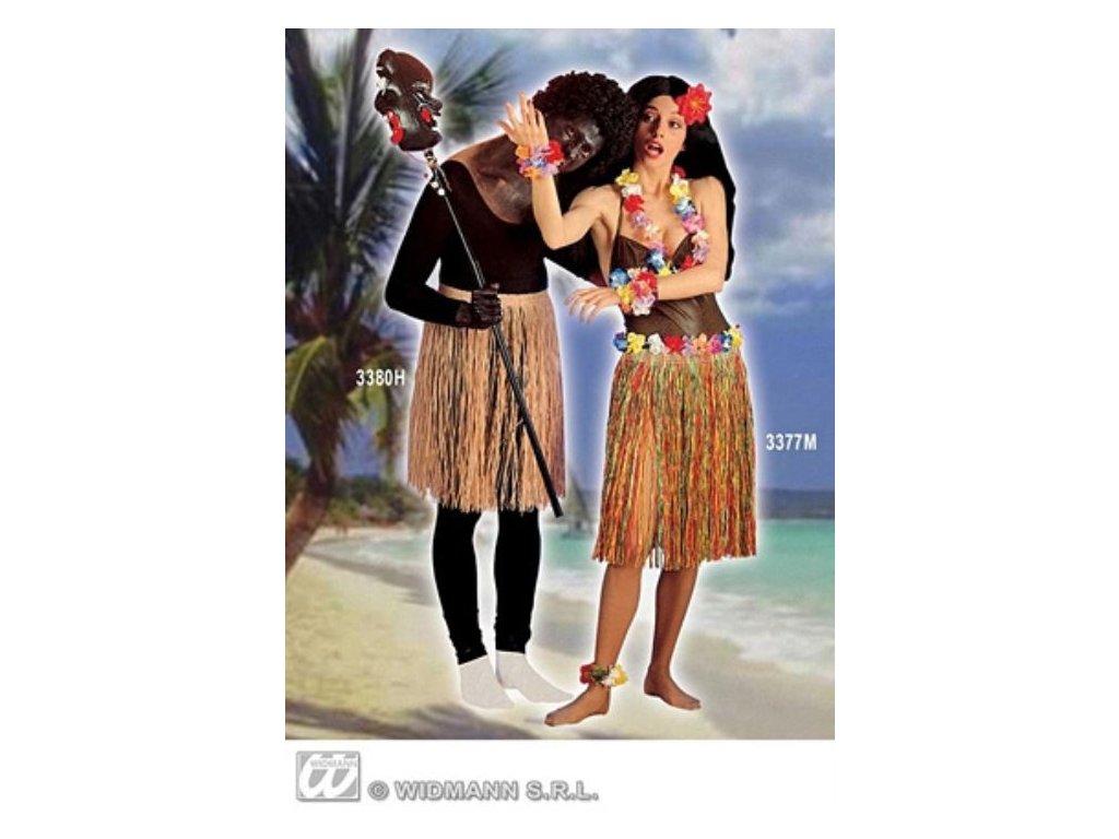 Havajská sukně barevná - šíře v pase 60-90 cm (elastická guma) - Hawaii