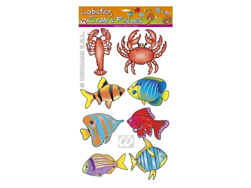 Dekorace mořský svět - Humr, krab, ryby - 8 ks