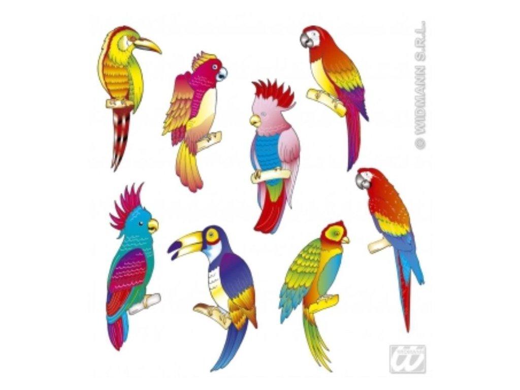Dekorace Tropické ptactvo - Havaj - Hawaii - 8 ks