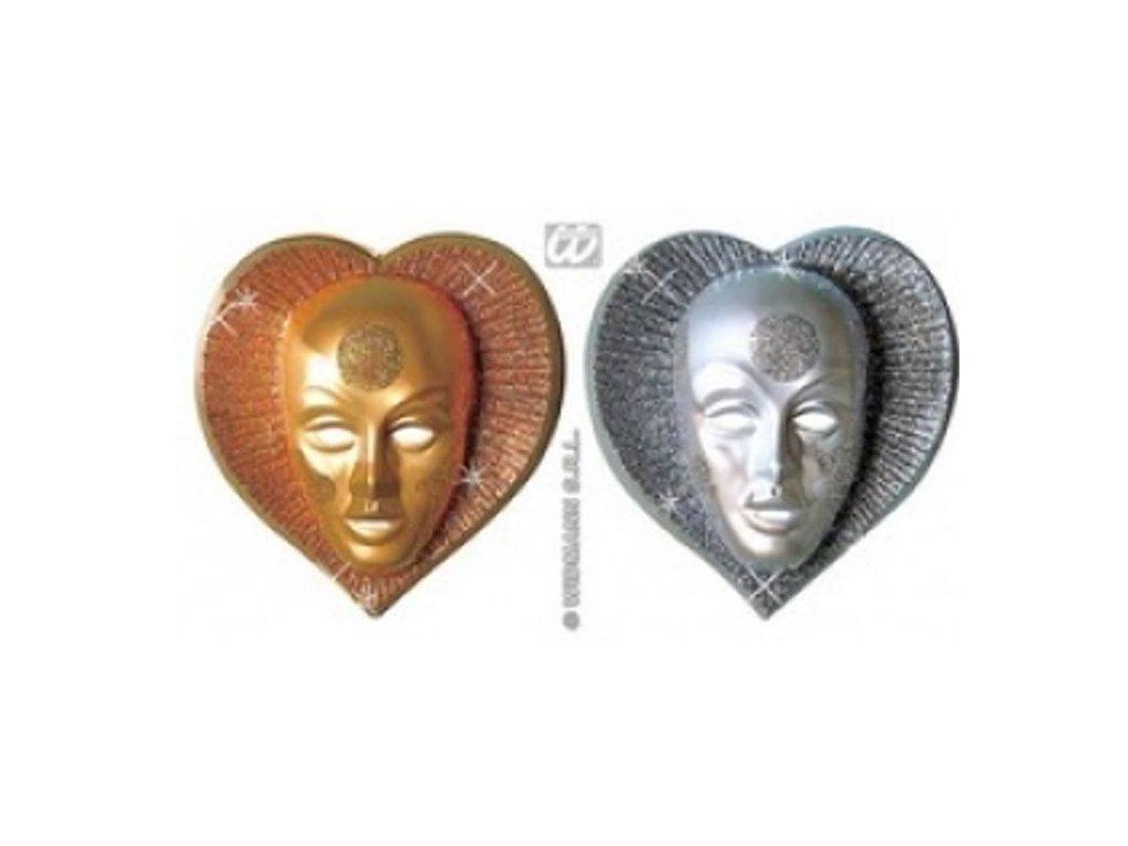 Maska - dekorace plast Srdce