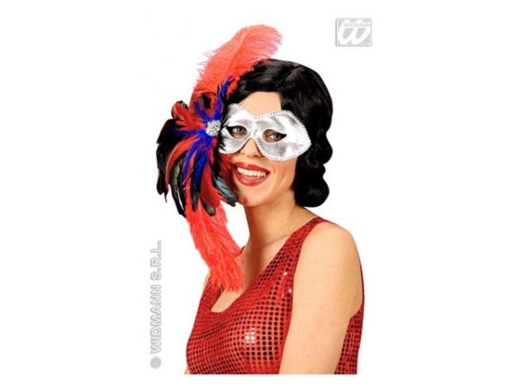 Škraboška - maska Fidelio s peřím
