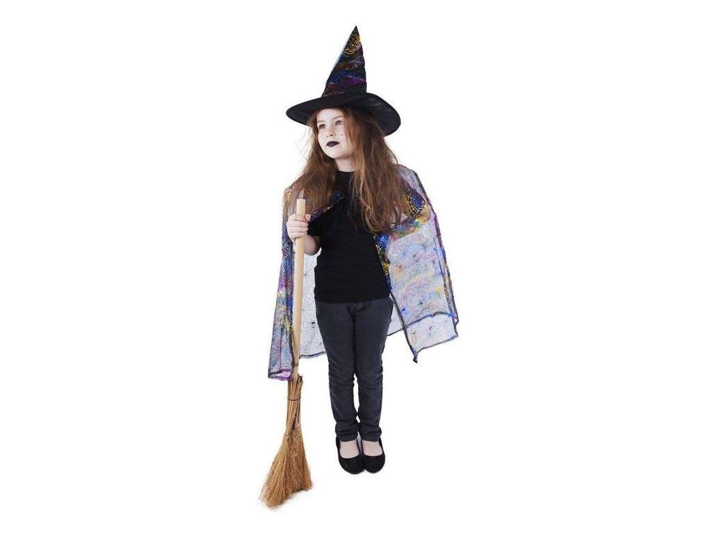 Kostým čaroděj - čarodějnice s pláštěm + kloboukem / HALLOWEEN