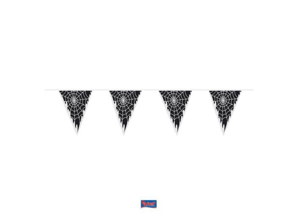 Girlanda pavučina - HALLOWEEN - pavoučí síť s vlajkami - 10 m