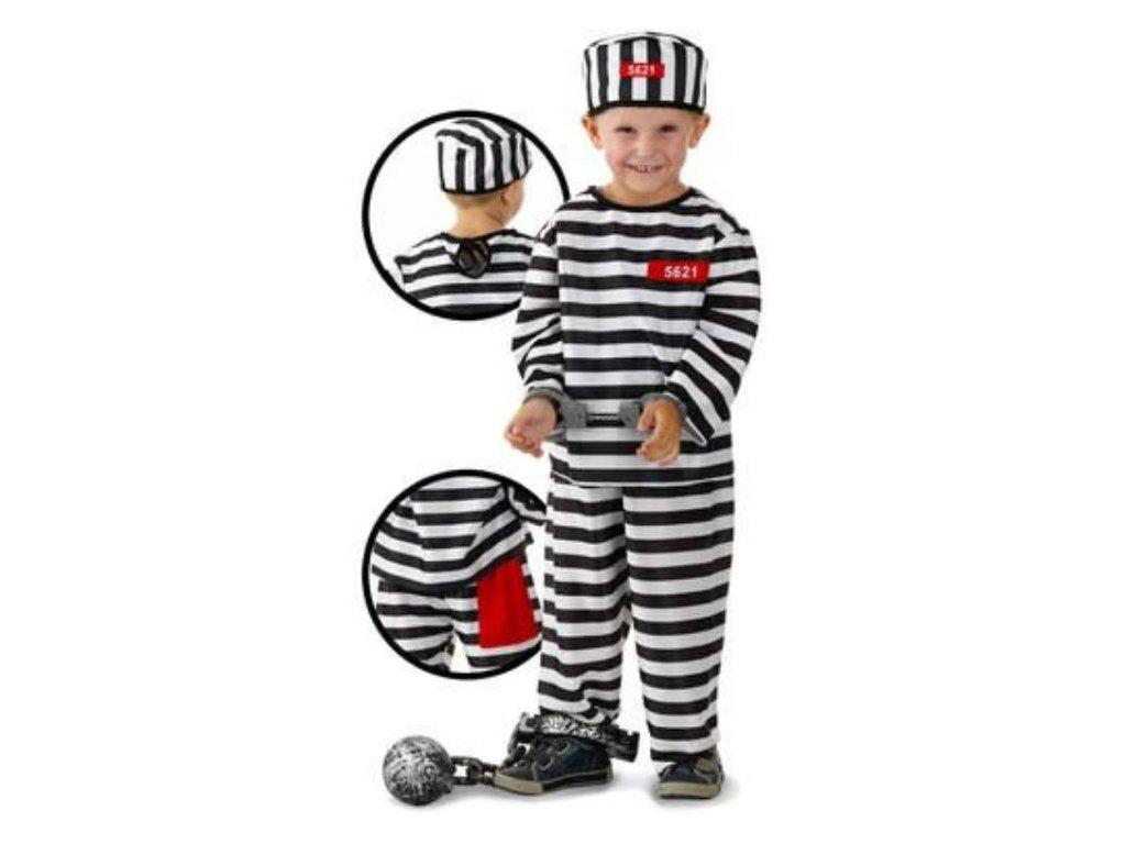 Dětský kostým vězeň - trestanec - zločinec - 3-5 let, vel. 98-116 cm