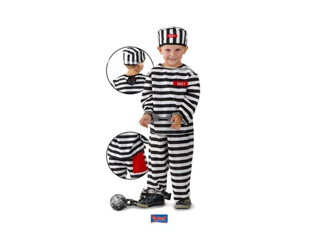 Dětský kostým vězeň - trestanec - zločinec - 6-8 let, vel. 116-134cm