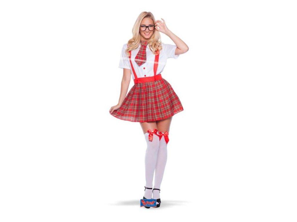 Kostým školní uniforma - sexy šprtka (košile, sukně, kravata) vel. S/M