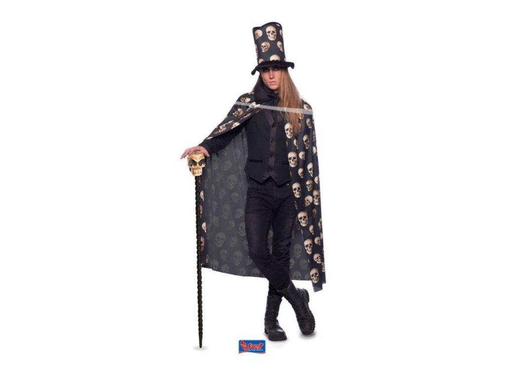 Plášť + klobouk s lebkami - Halloween, unisex