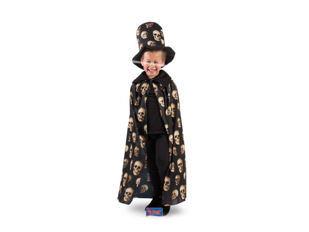 Dětský kostým - plášť + klobouk s lebkami - Halloween, 4-9 let