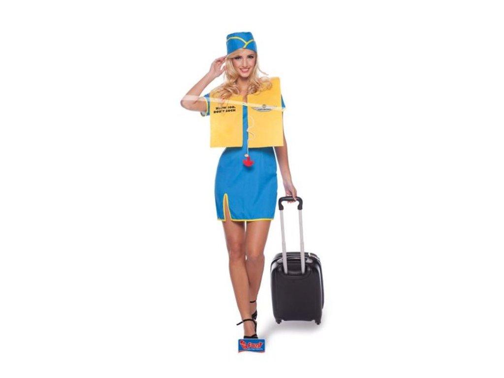 Kostým Letuška - stewardka (šaty, klobouk, vesta) vel. S/M (36-38)