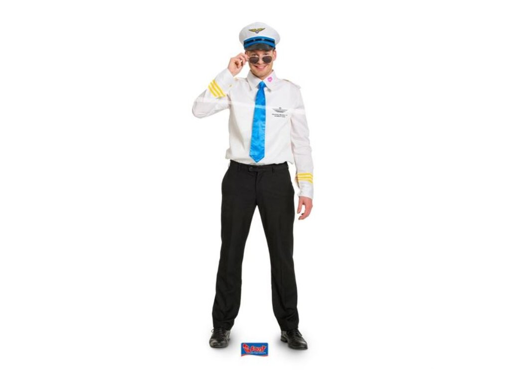 Kostým pilot - letec (košile, čepice,kravata) vel. M/L (48-50)