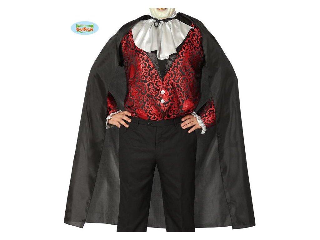 KOSTÝM - ČERNÝ PLÁŠŤ VAMPÍR - Upír - Drakula - 130 cm - Halloween