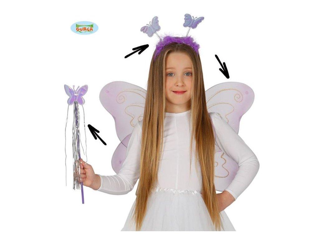 Dětská sada motýlek - čelenka,křídla,hůlka - 50x36 cm