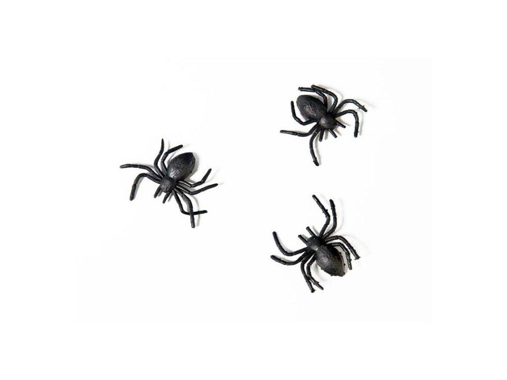 PAVOUCI PLASTOVÍ ČERNÍ 3x3cm - 10 ks - Halloween
