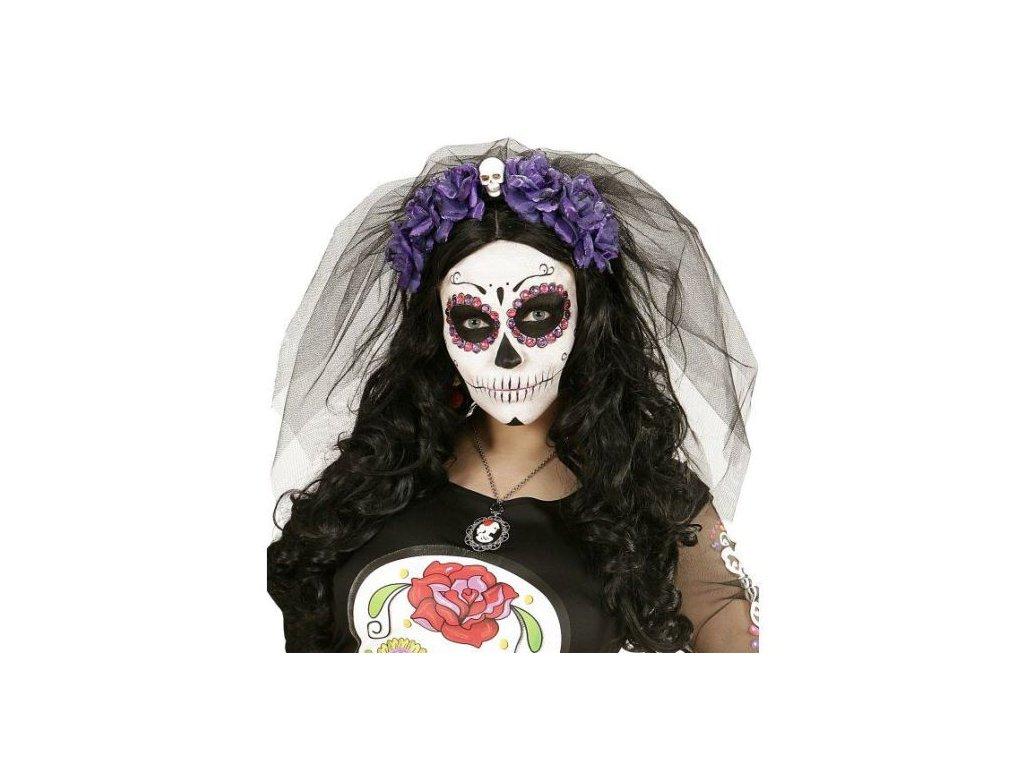 Závoj purpurové růže s lebkou - Halloween