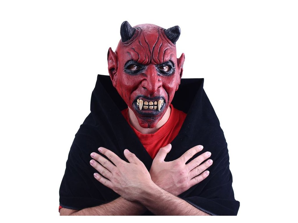 Maska čert s ušima - 26 x 32 cm - Vánoce