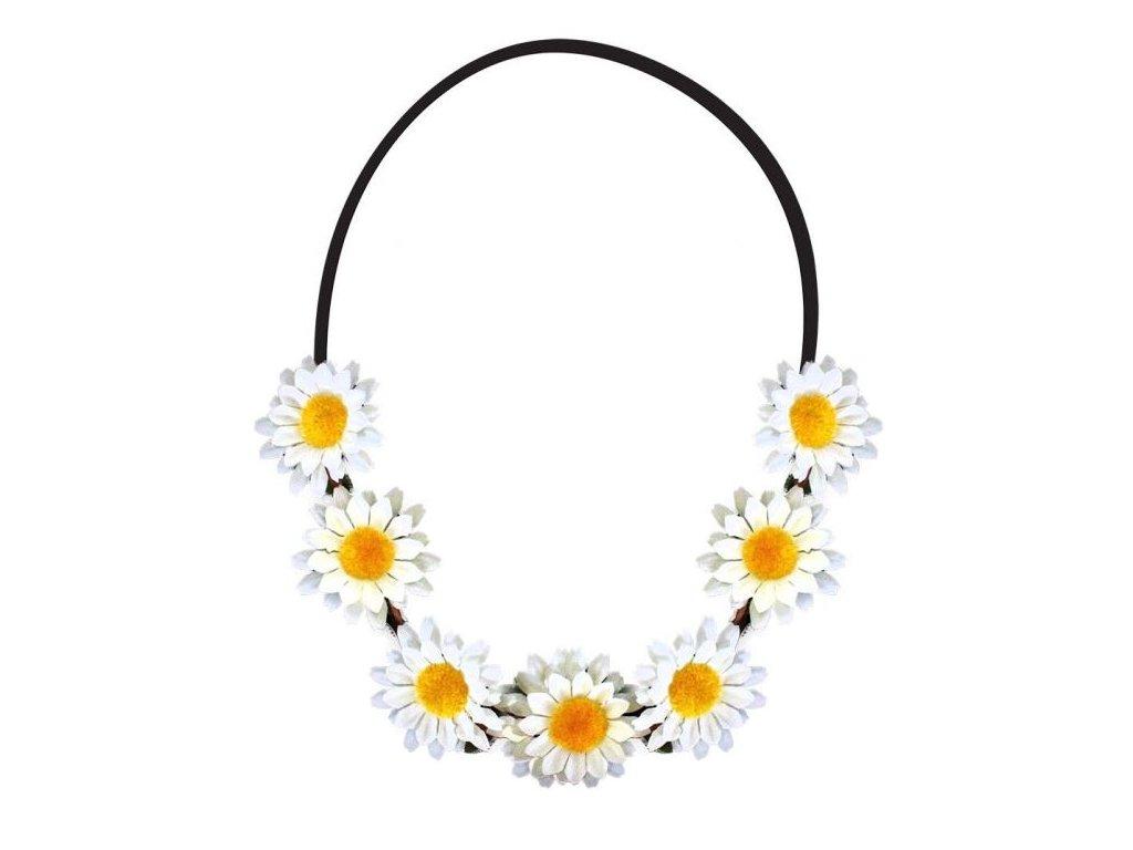 Čelenka květy - kopretina - Hippie - Hipís