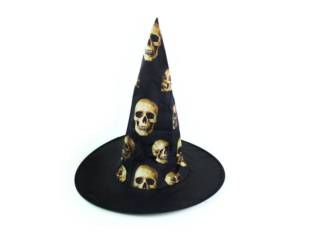 Klobouk čarodějnice - čaroděj s lebkami pro dospělé-Halloween