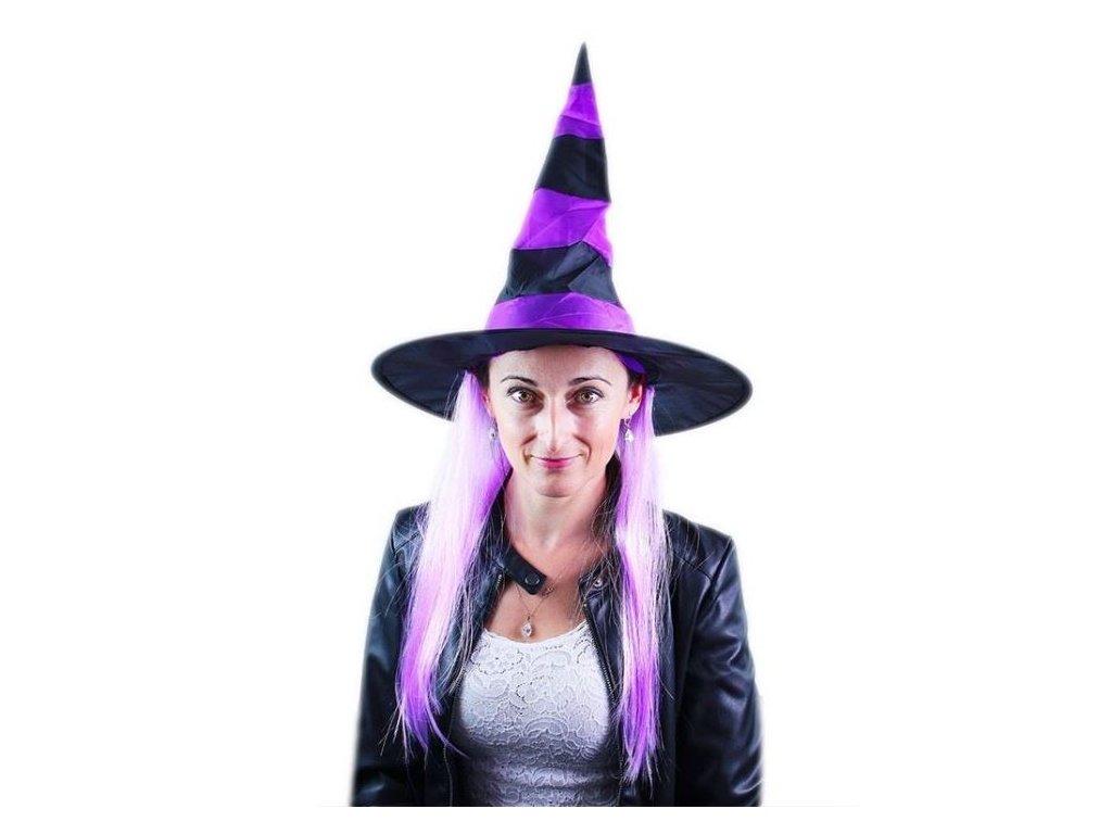 Klobouk čarodějnice s vlasy - Halloween