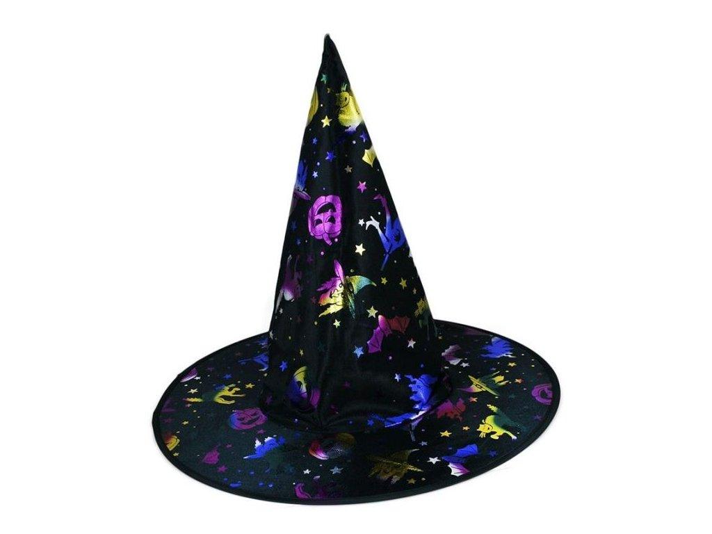 Klobouk čarodějnice - čaroděj s potiskem dospělý - Halloween