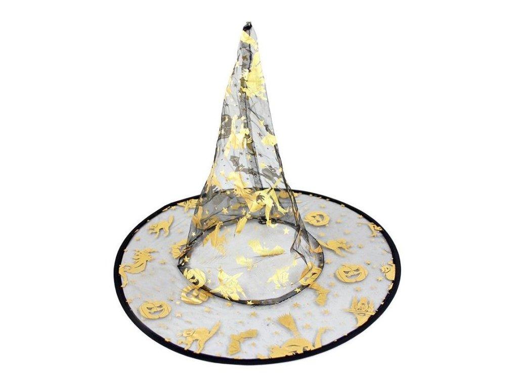 Čarodějnický dětský klobouk s magickými motivy - HALLOWEEN - 28 cm