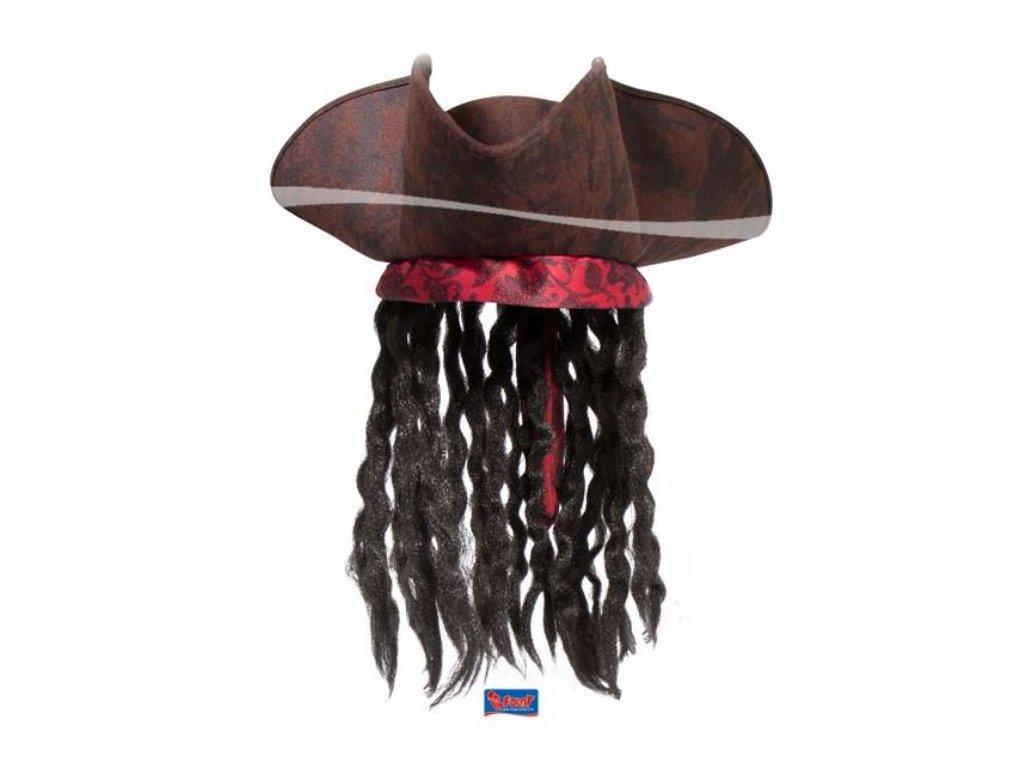 Pirátský klobouk hnědý s vlasy - Jack Sparrow