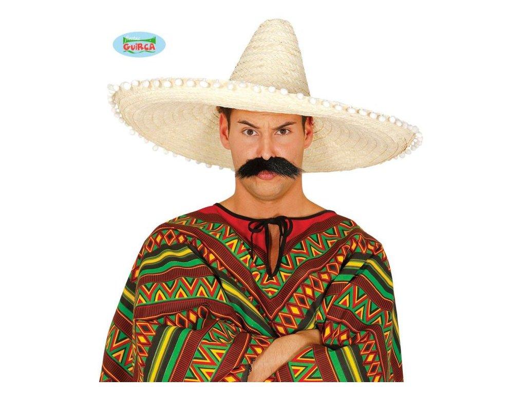 Slaměný klobouk sombrero s bambulkami - Mexiko 60 cm