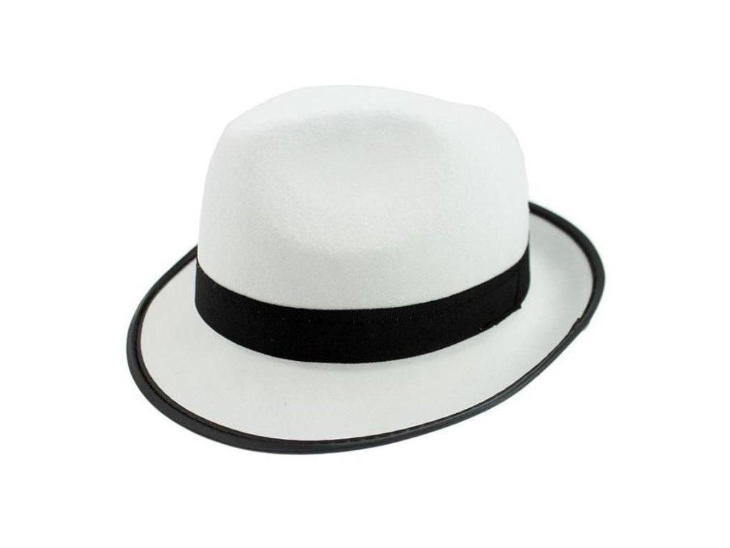Klobouk Gangster - mafián - bílý s černou páskou