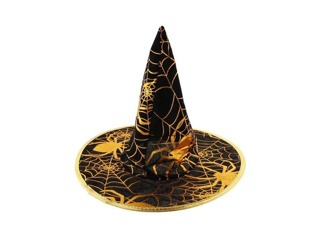 Klobouk čarodějnice - čaroděj - zlatý potisk - HALLOWEEN - 32 cm