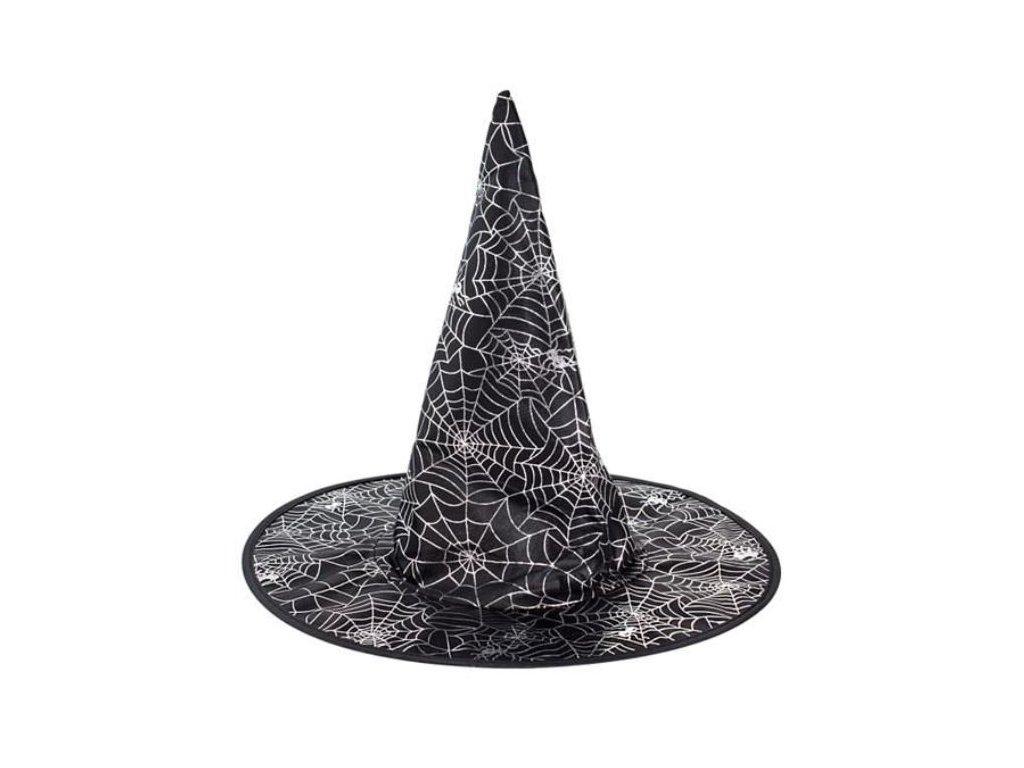 Klobouk čarodějnice - čaroděj - potisk pavučina / HALLOWEEN