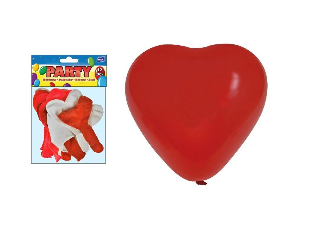 balónek nafukovací 12ks sáček srdce 30cm mix 8000110