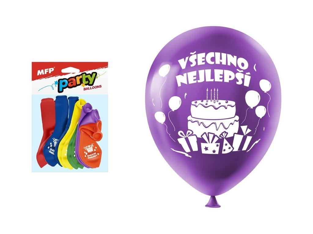 balónek nafukovací 12ks sáček standard 23cm Všechno nejlepší mix 8000128