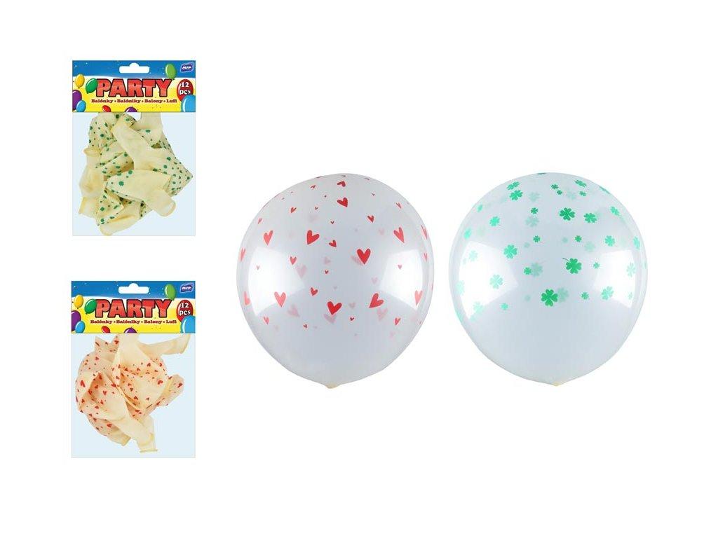 balónek nafukovací 12ks sáček transparent potisk 30cm 8000143