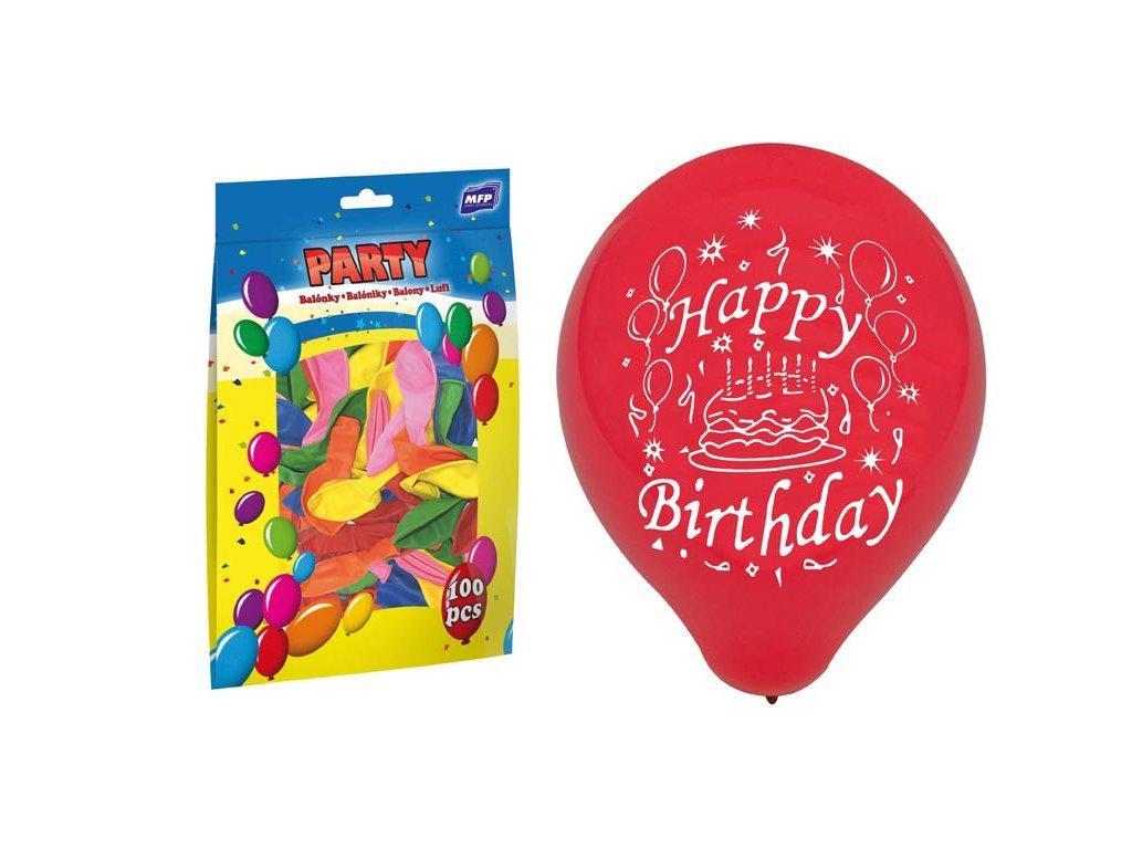 balónek nafukovací standard 23cm Happy Birthday mix 8000131