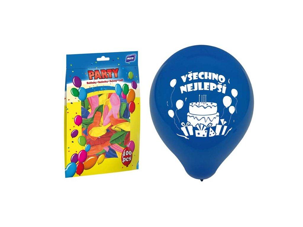 balónek nafukovací standard 23cm Všechno nejlepší mix 8000129