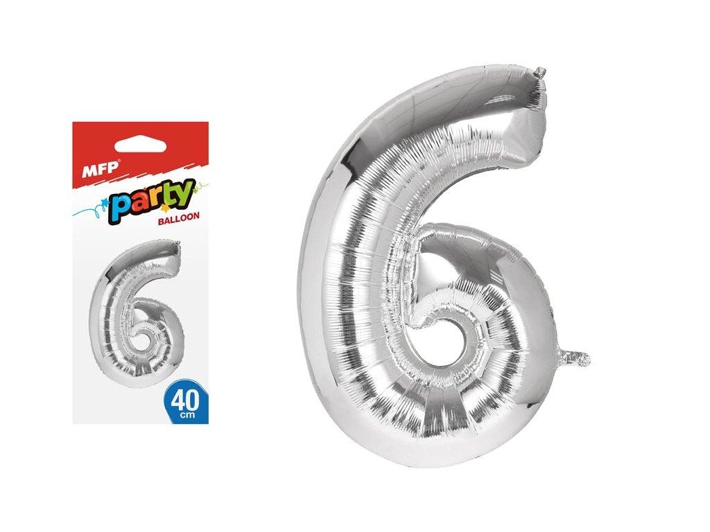 balónek č. 6 nafukovací fóliový 40 cm - stříbrný 8000139