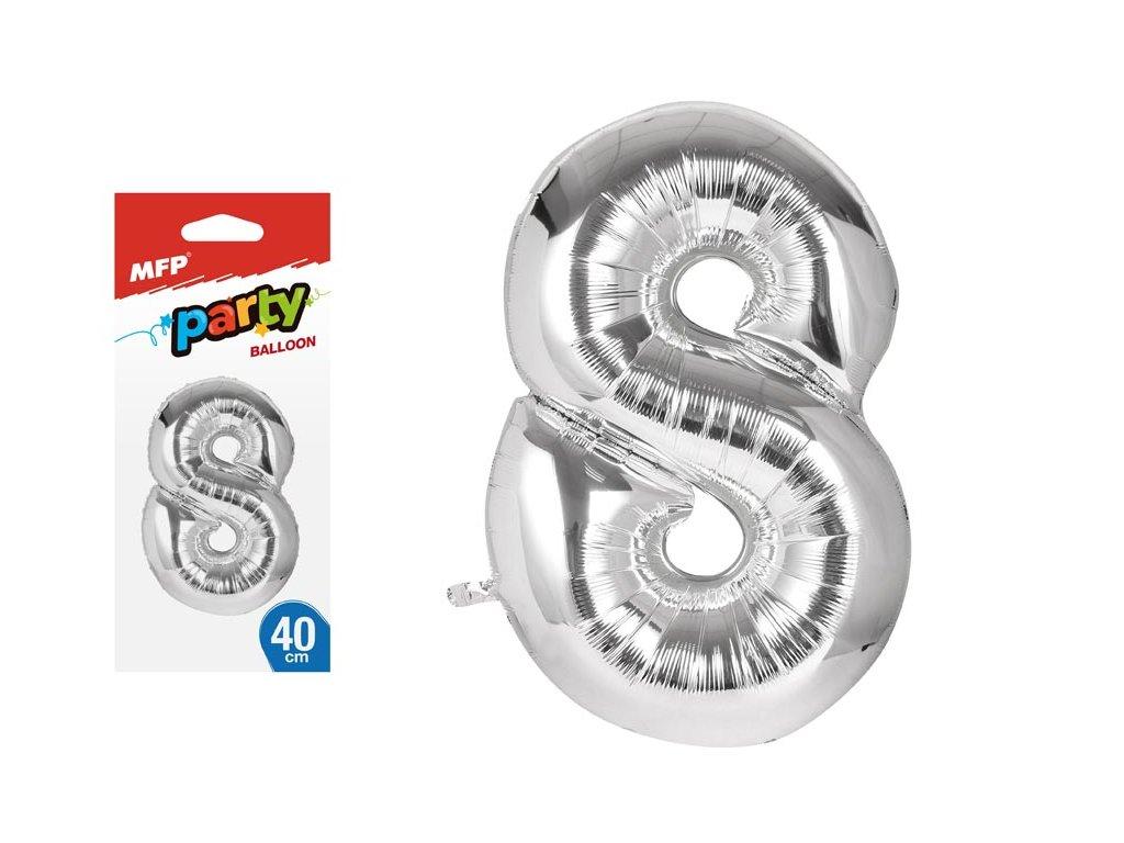 balónek č. 8 nafukovací fóliový 40 cm - stříbrný 8000141