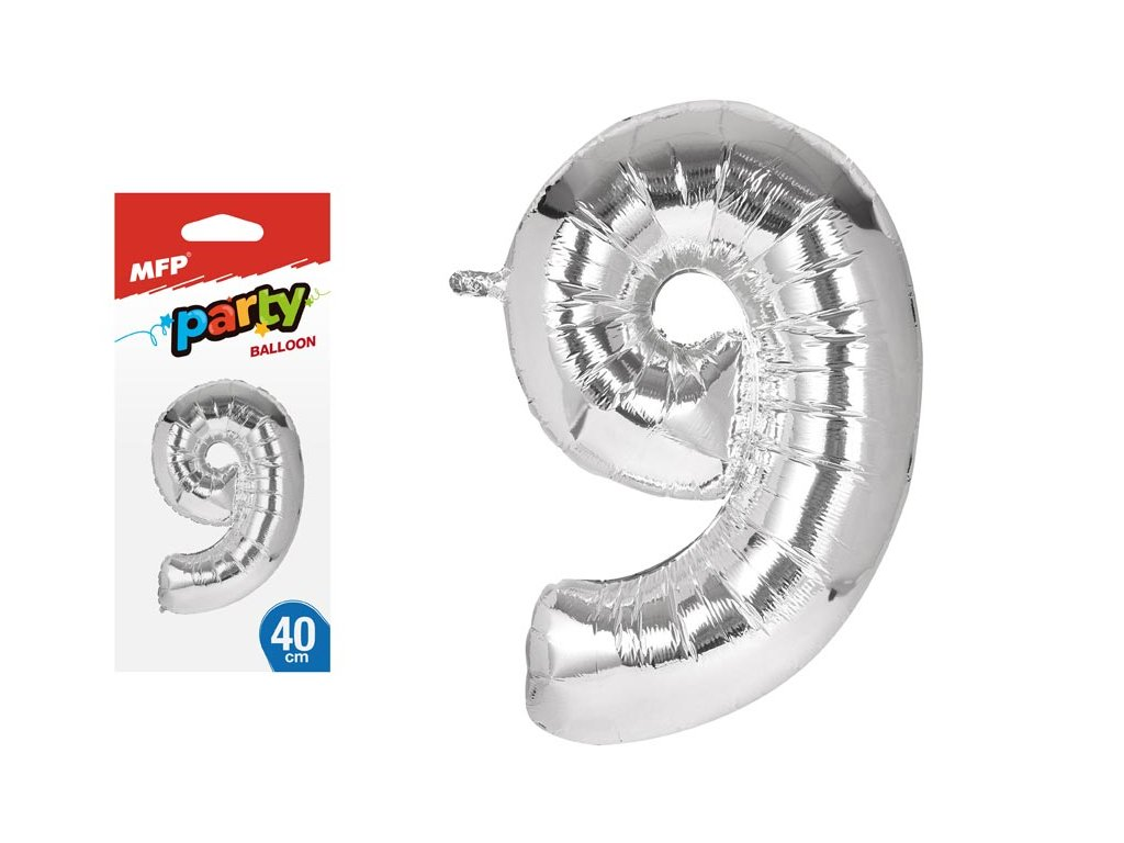 balónek č. 9 nafukovací fóliový 40 cm - stříbrný 8000142