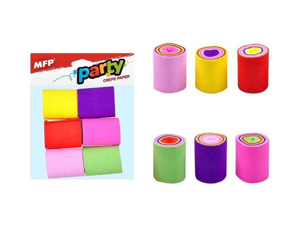 krepový papír 6 ks barevný mix (5 x 900cm) 1041917