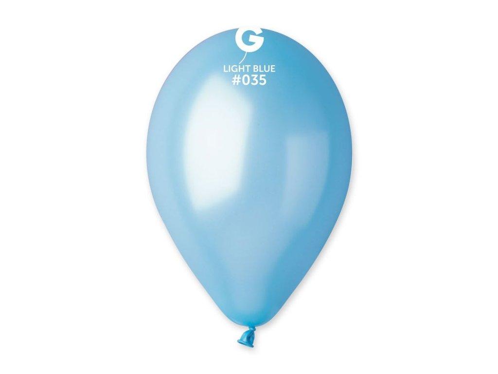 Balonky metalické 100 ks světle modrý - průměr 26 cm