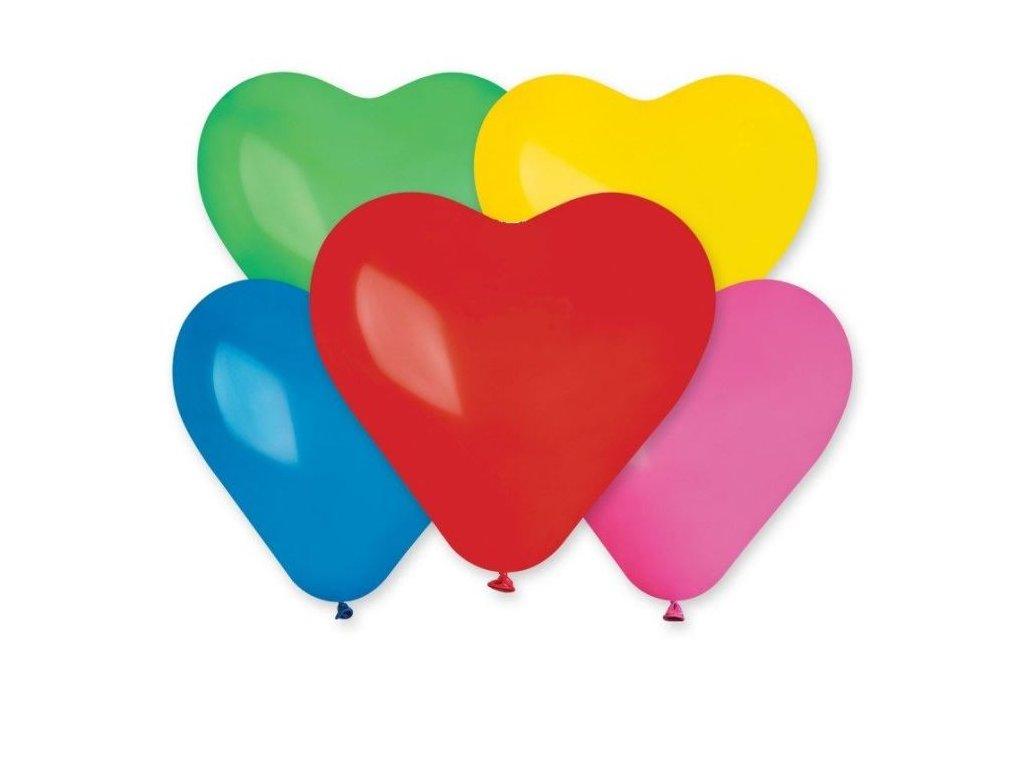Balón SRDCE barevné 25 cm -1 ks - Valentýn / Svatba