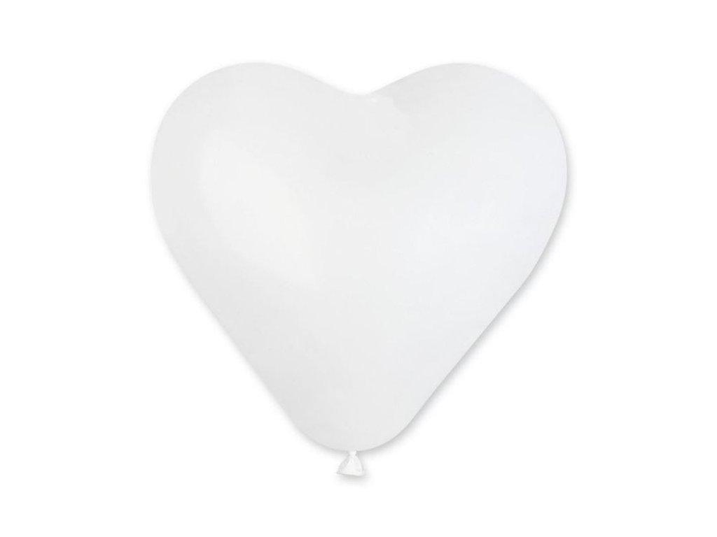 Balón SRDCE bílé 25 cm -1 ks - Valentýn / Svatba