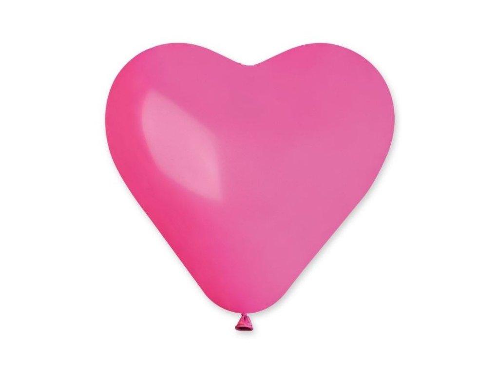 Balón SRDCE růžové 25 cm - 1 ks - Valentýn / Svatba