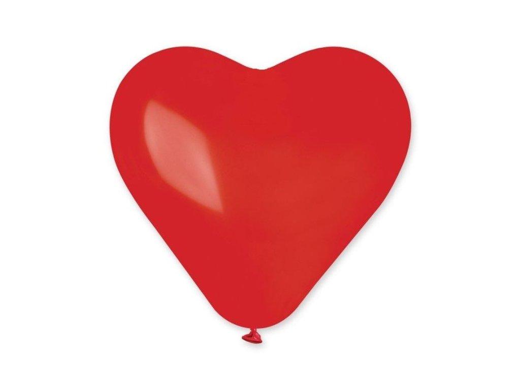 Balón SRDCE červené 25 cm - 1 ks - Valentýn / Svatba