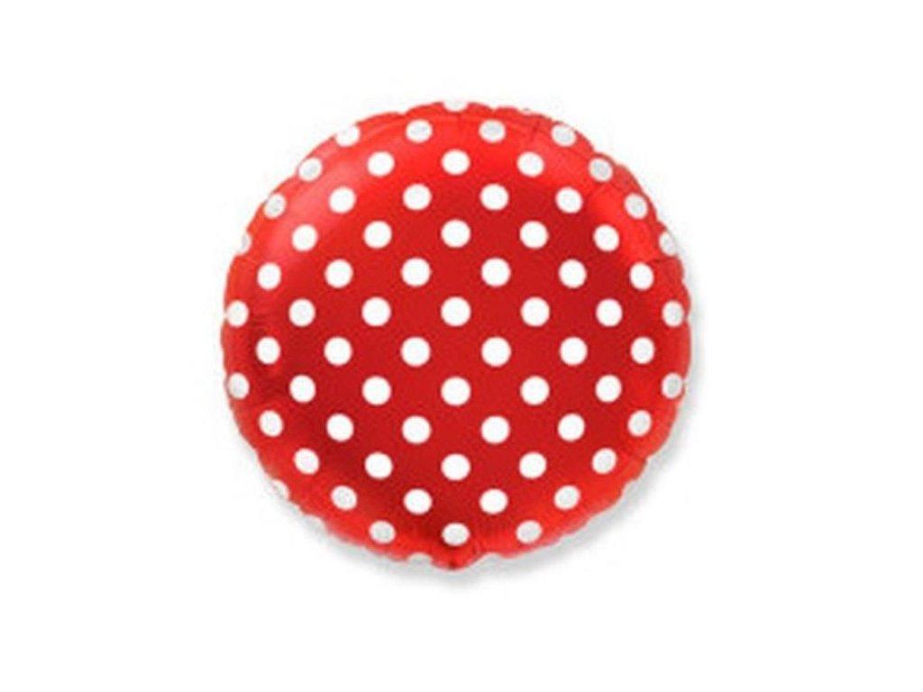 Balón foliový Kulatý červený s bílými puntíky 45 cm