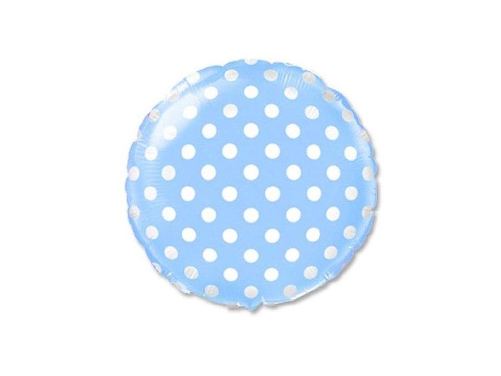 Balón foliový Kulatý modrý s bílými puntíky 45 cm