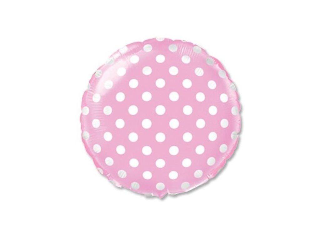 Balón foliový Kulatý růžový s bílými puntíky 45 cm