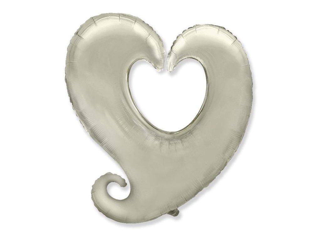 Balón foliový SRDCE zatočené - stříbrné 90 cm