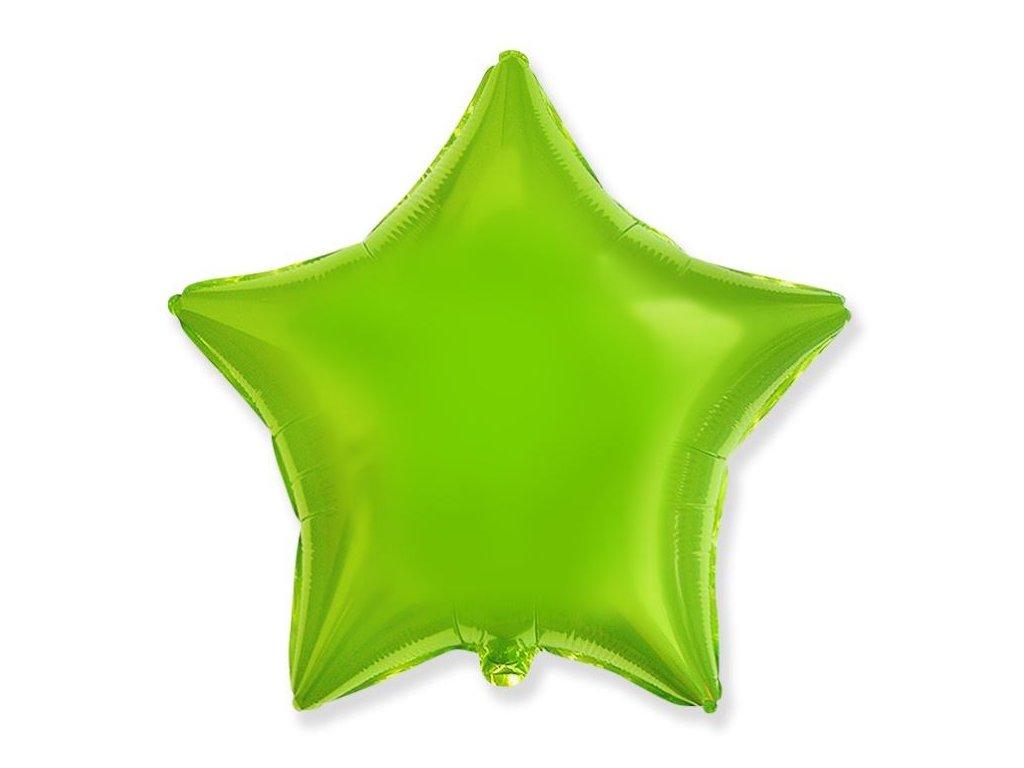Balón foliový 45 cm Hvězda zelená limetka