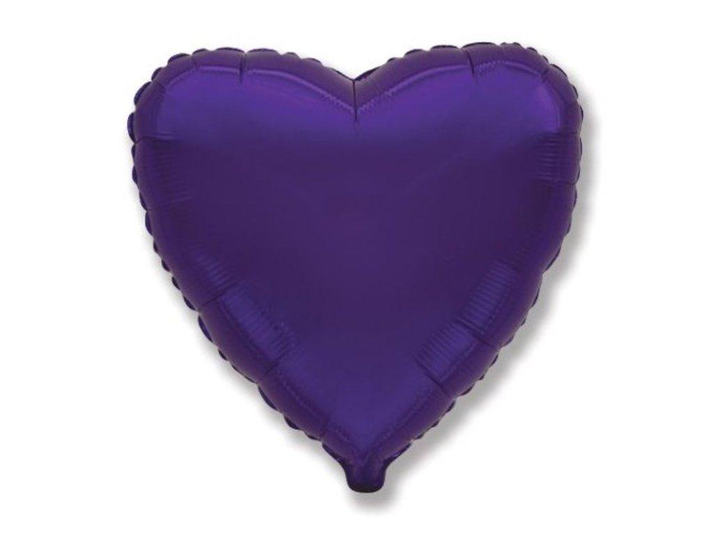 Balón foliový 45 cm Srdce fialové - Valentýn / Svatba