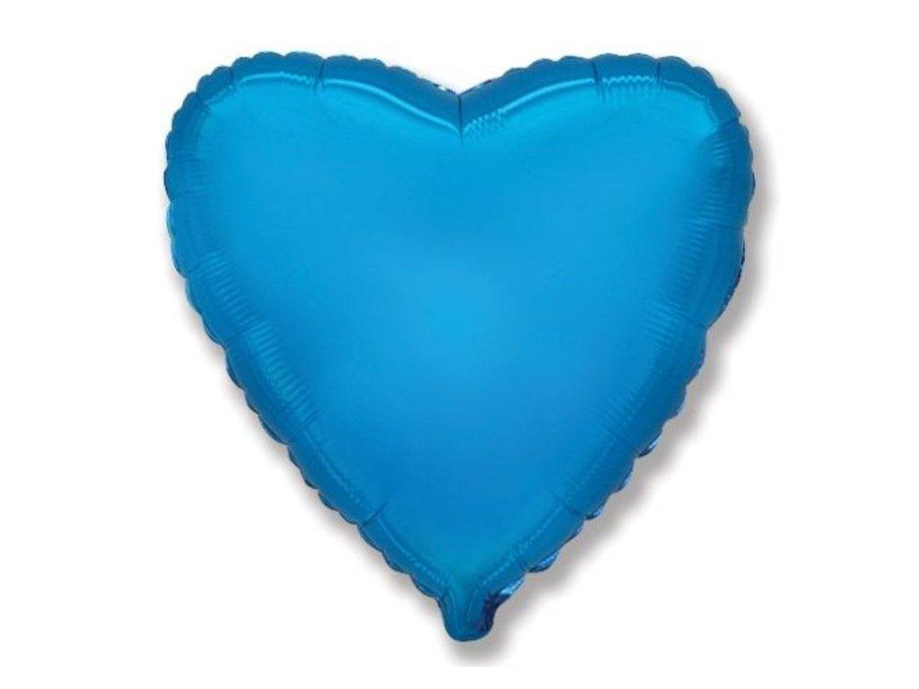 Balón foliový 45 cm Srdce modré - Valentýn / Svatba